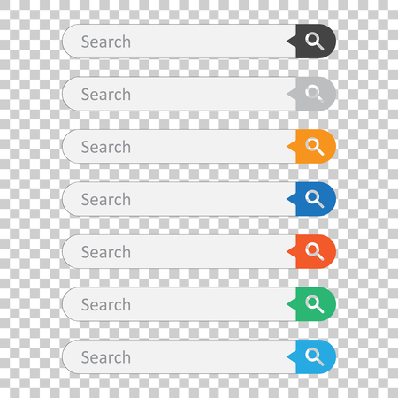 Search bar field. Set vector interface elements with search button. Flat vector illustration on isolated background. 矢量图像