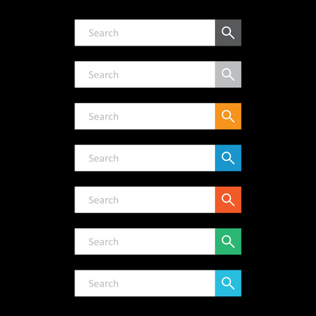 Search bar field. Set vector interface elements with search button. Flat vector illustration on black background.