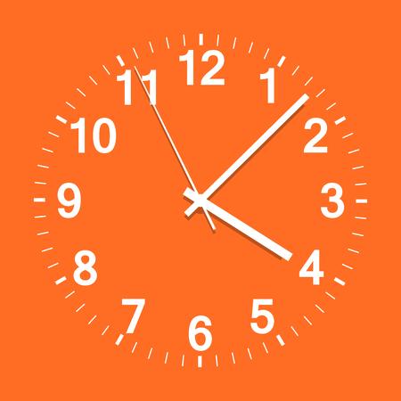 時計アイコンのベクター イラストです。オレンジ色の背景に会社の時計。  イラスト・ベクター素材
