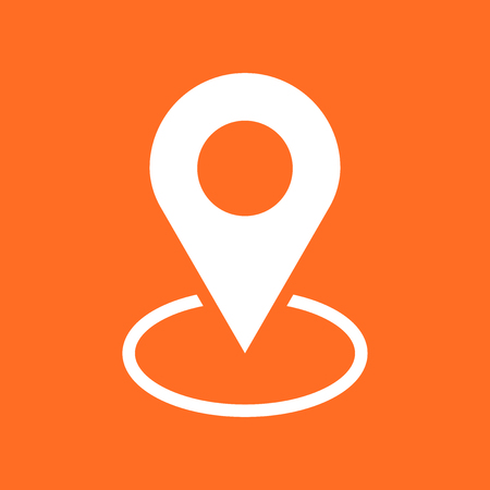Pin icon vector. Location sign in flat style isolated on orange background. Navigation map, gps concept.