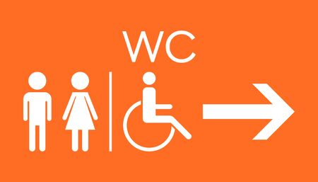 WC, toilet flat vector icon. Men and women sign for restroom on orange background.