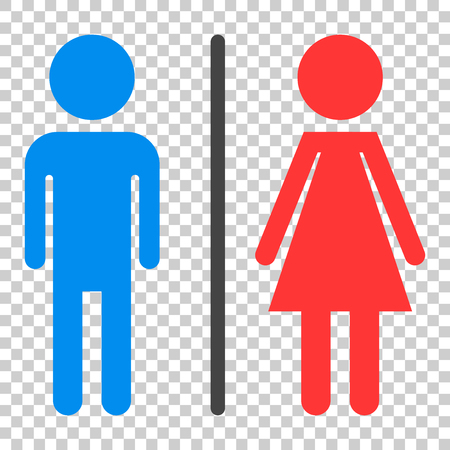 WC, toilet flat vector icon. Men and women sign for restroom on isolated background. Çizim