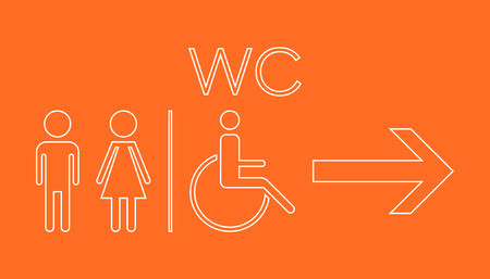 WC, toilet neon vector icon. Men and women sign for restroom on orange background.