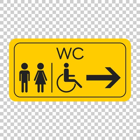 WC, toilet vector icon. Men and women sign for restroom on yellow board.