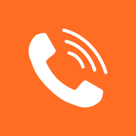 old phone: Phone icon vector, contact, support service sign on orange background. Telephone, communication icon in flat style.
