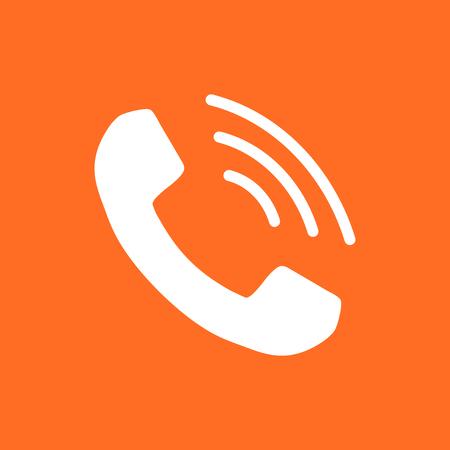 Vecteur d'icône de téléphone, contact, signe de service de soutien sur fond orange. Téléphone, icône de la communication dans le style plat. Vecteurs
