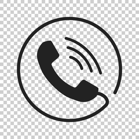 old phone: Phone icon vector, contact, support service sign on isolated background. Telephone, communication icon in flat style.