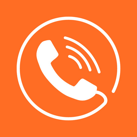 Phone icon vector, contact, support service sign on orange background. Telephone, communication icon in flat style.