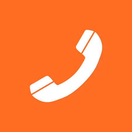 Phone icon vector, contact, support service sign isolated on orange background. Telephone, communication icon in flat style.
