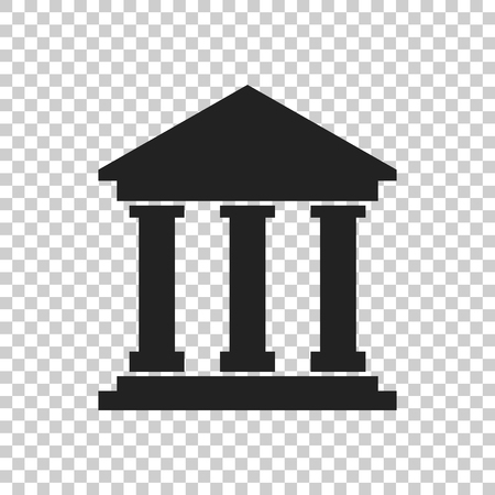 Bank building icon in flat style. Museum vector illustration on isolated background. Ilustração
