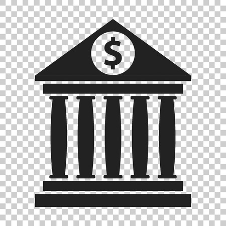 courthouse: Bank building icon with dollar sign in flat style. Museum vector illustration on isolated background.