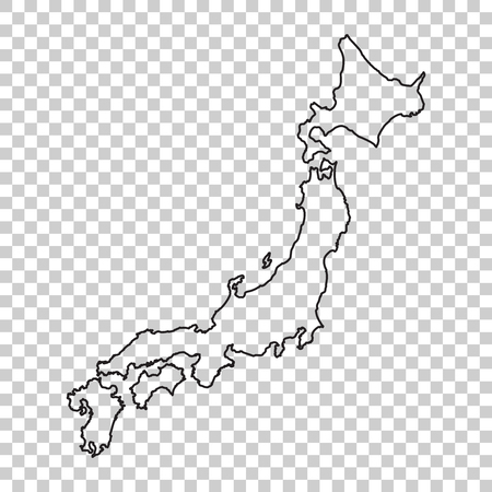 Japan Map in line style on isolated background. Vector illustration.  イラスト・ベクター素材