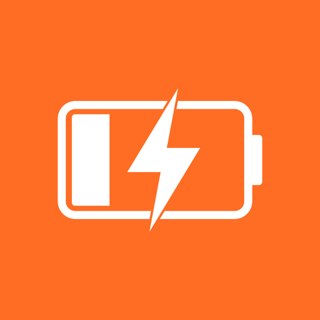 Battery charge level indicator. Vector illustration on orange background. Иллюстрация