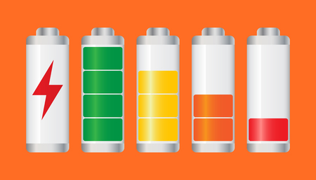 Set of battery charge level indicator. Vector illustration on orange background.