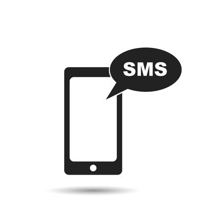 SMS 메시지 아이콘이있는 스마트 폰. 플랫 벡터 일러스트 레이 션. 흰색 배경에 그림자와 함께 휴대 전화 기호를 기호. 일러스트
