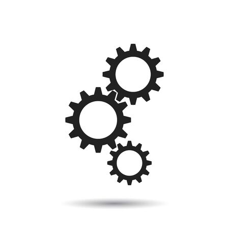 Gear icon. Flat vector illustration. Business sign symbol with shadow on white background.