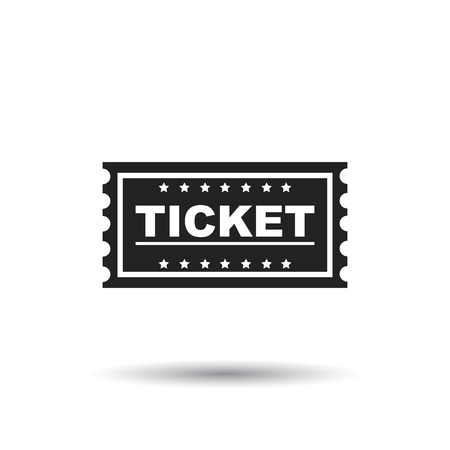 Ticket icon. Flat vector illustration. Ticket sign symbol with shadow on white background. Illustration