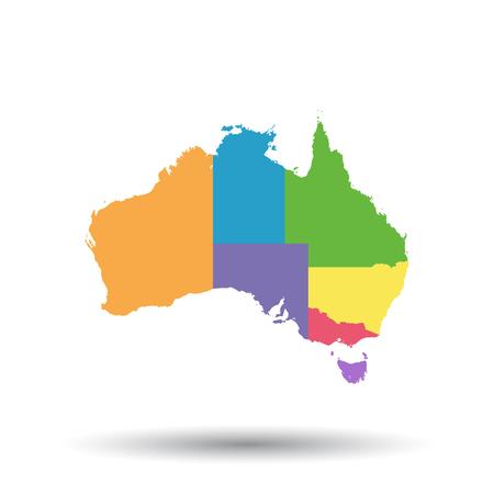 Australia map icon. Flat vector illustration. Australia sign symbol with shadow on white background.