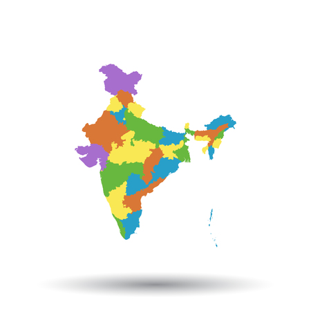 India map icon. Flat vector illustration. India sign symbol with shadow on white background.