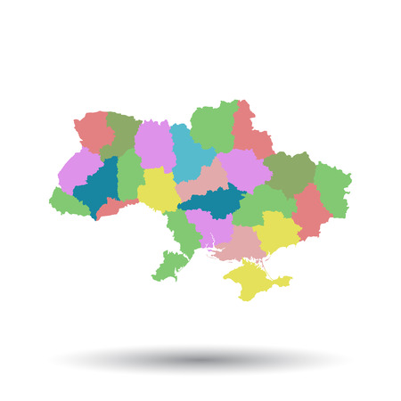 Ukraine map icon. Flat vector illustration. Ukraine sign symbol with shadow on white background. Illustration