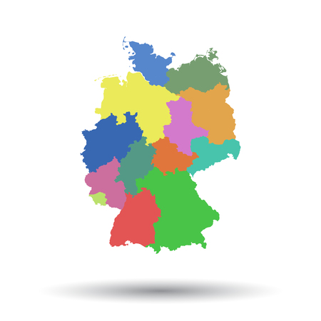 Germany map with federal states icon. Flat vector illustration. Germany sign symbol with shadow on white background.