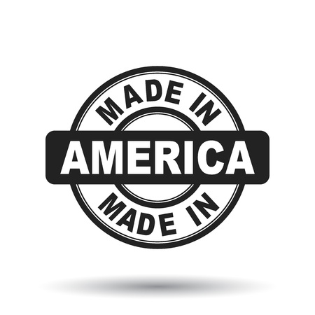 Made in America black stamp. Vector illustration on white background. Çizim