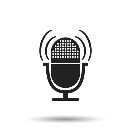 announcing: Microphone icon. Flat vector illustration. Microphone sign symbol with shadow on white background. Illustration
