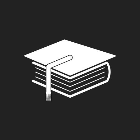 Education and book. Flat icon vector illustration on black background. Illusztráció