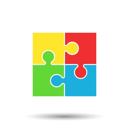 パズルのアイコン。フラットのベクター イラストです。白い背景の上に影をゲーム記号をパズルします。