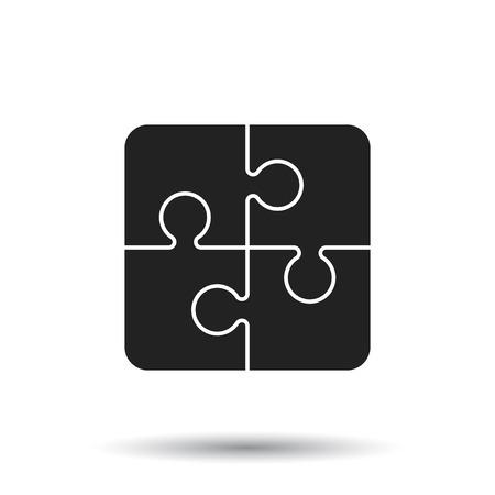 Puzzel pictogram. Platte vectorillustratie Puzzel game teken symbool met schaduw op witte achtergrond.