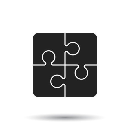 Puzzle icon. Flat vector illustration. Puzzle game sign symbol with shadow on white background.