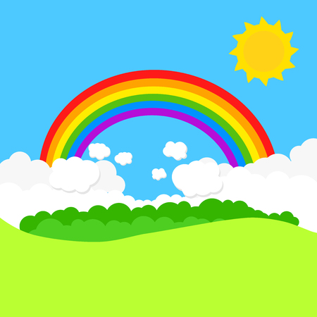 Landscape with rainbow and sun. Vector illustration Illustration