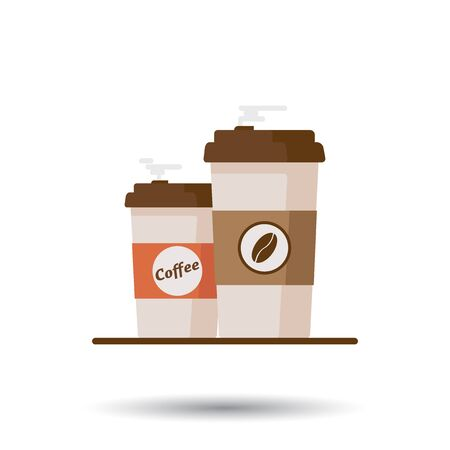 Coffee cup with coffee beans on white background. Flat vector illustration