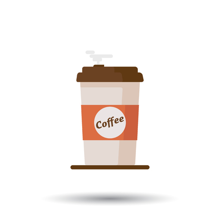 Coffee cup icon with text coffee on white background. Flat vector illustration 向量圖像