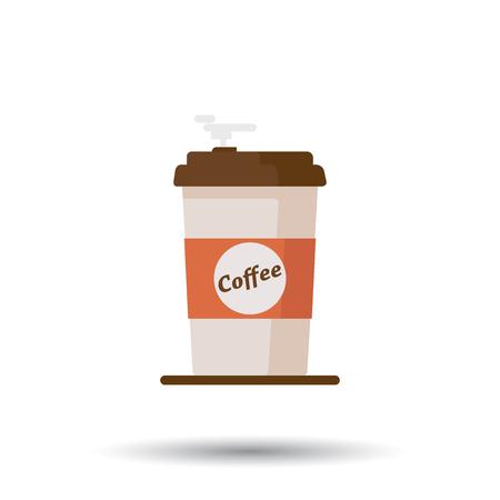 Koffiekopje pictogram met tekst koffie op witte achtergrond. Platte vectorillustratie Stock Illustratie