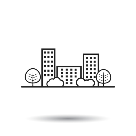 Vector city illustration in flat style. Building, tree and shrub on white background