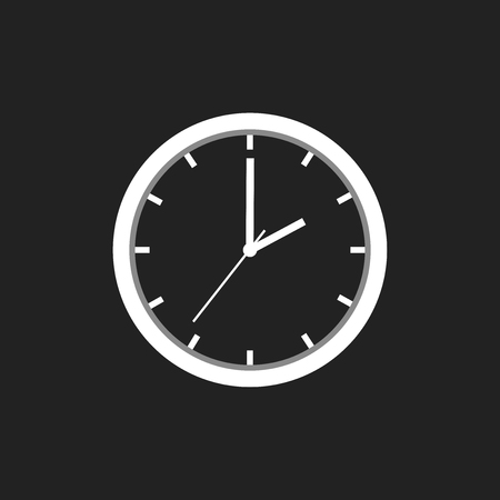 Clock icon, flat design. Vector illustration on black background
