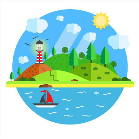 Vacation in the sea with lighthouse, hill, tree, mountain, fish and sailing ship. Summer time holiday voyage concept. Illustration in flat style. Travel background. Иллюстрация
