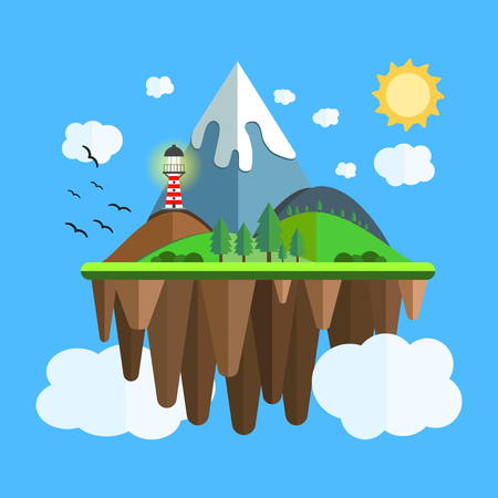 Floating island with mountain, hill, tree and birds. Summer time holiday voyage concept. Illustration in flat style. Travel background. Illusztráció