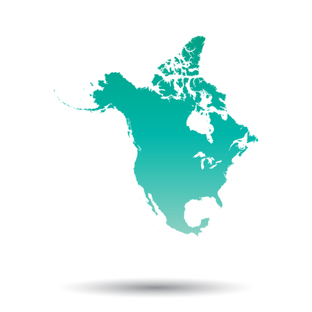 North America map. Colorful turquoise vector illustration on white isolated background.