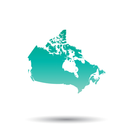 Canada map. Colorful turquoise vector illustration on white isolated background.