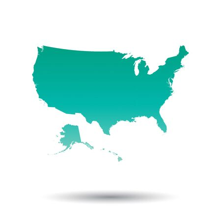 Usa, United States of America map. Colorful turquoise vector illustration on white isolated background.