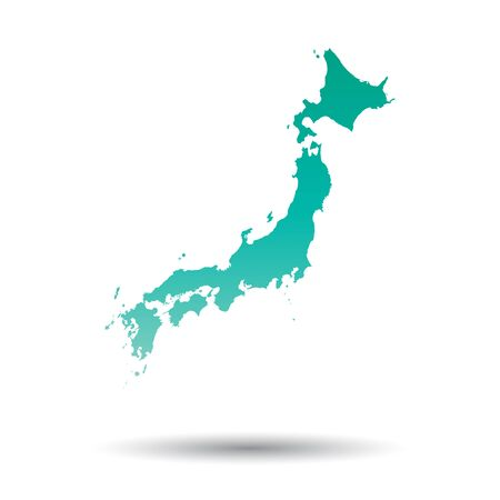 Japan map. Colorful turquoise vector illustration on white isolated background.