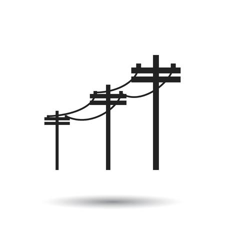 Líneas eléctricas de alto voltaje. Icono de vector de poste eléctrico sobre fondo blanco.