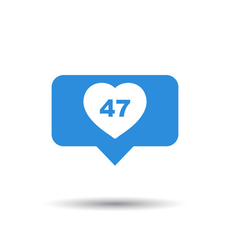 Like, comment, follower icon. Blue flat vector illustration with heart on white background. 向量圖像