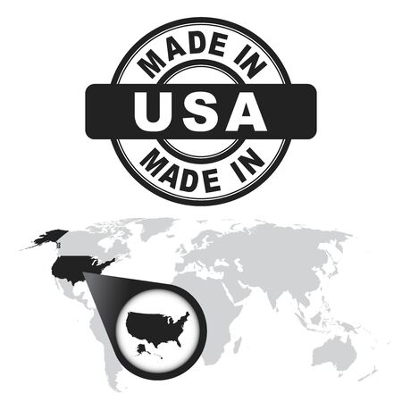 Made in USA, America stamp. World map with zoom on country.
