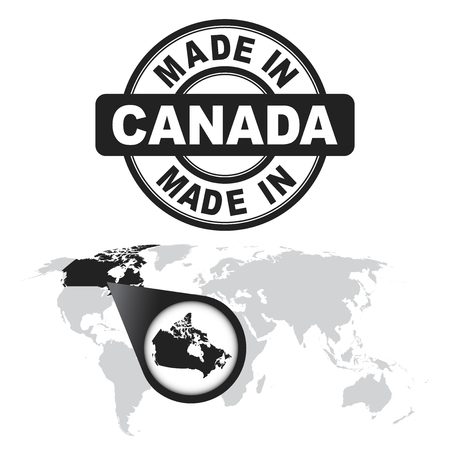 Made in Canada stamp. World map with zoom on country. Illustration