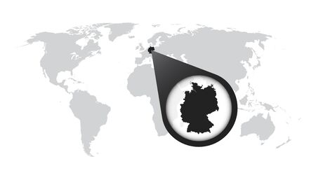 Germany map on a world map with flag and map pointer vector 74892327 world map with zoom on germany map in loupe vector illustration in flat style gumiabroncs Gallery
