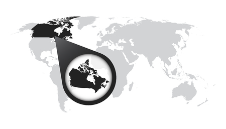 World map with zoom on Canada. Map in loupe. Vector illustration in flat style