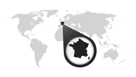 World map with zoom on taiwan map in loupe vector illustration world map with zoom on france map in loupe vector illustration in flat style gumiabroncs Images